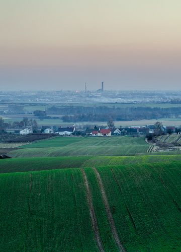 Far far away... (color ver.) #panorama #view #fields #city #poland #skytower
