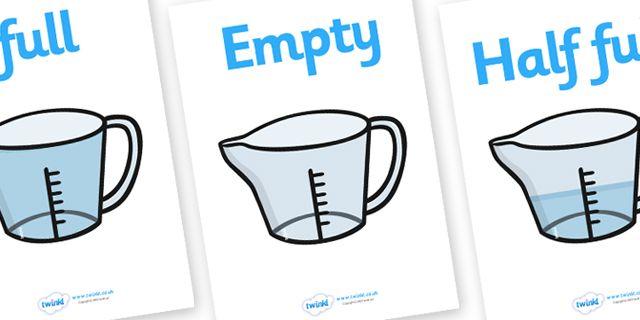 Twinkl Resources >> Capacity Display Posters (Jugs)  >> Thousands of printable primary teaching resources for EYFS, KS1, KS2 and beyond! capacity display posters, capacity, volume, litre, full, empty, half full, measure, jug, cup, water, display, poster,
