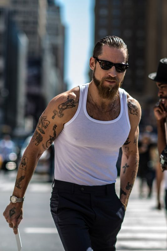 Justin O'Shea · by Michael Dumler ·  during NYFW S/S '14.  Drool.  His beard.  His style.