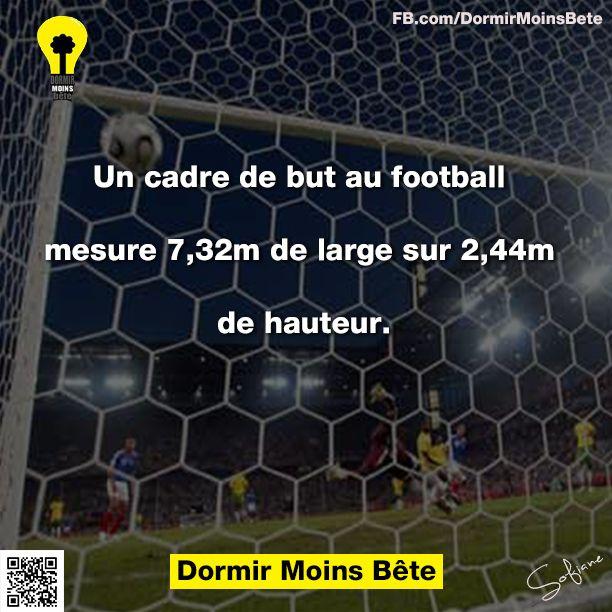 Un cadre de but au football mesure 7,32 m de large sur 2,44 m de hauteur.