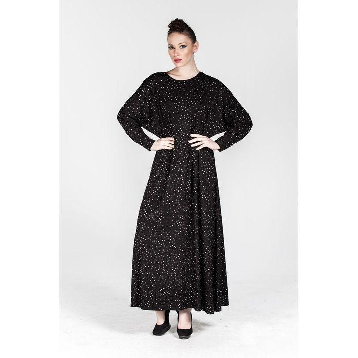 Plus size Black Roll-neck Shimmer Grid Dress