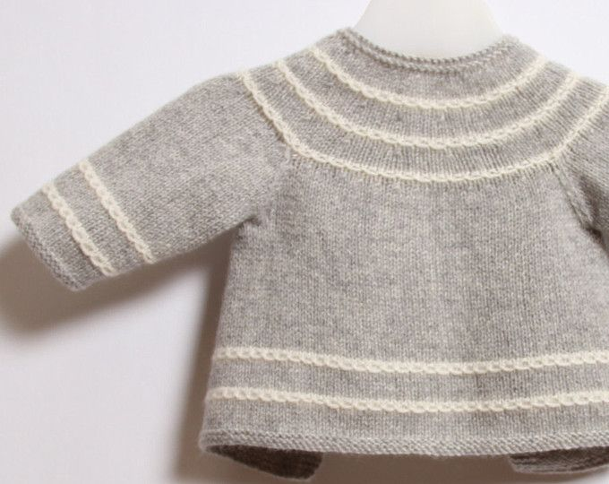 50dfbc83d377 Baby Cardigan   Knitting Pattern Instructions in French   PDF ...