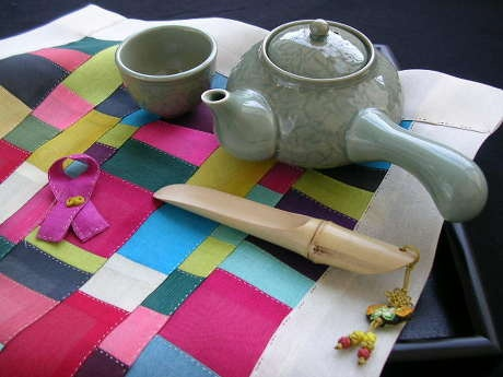 Korean patchwork(Jogakbo)  with Korean traditional porcelain tea set
