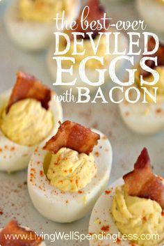 DEVILED EGGS W/BACON — From: http://www.livingwell spendingless.com/2015/04/01/deviled-eggs-with-bacon/?inf_ contact_key=ba0035904240c1cda28d61672f0aef2dbae396c13442ebffebfd7ba50f772466