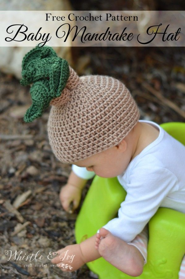 Crochet Mandrake Baby Hat - Get the free pattern for this fun Harry Potter-themed halloween costume for baby. Plus, get a printable for the Mandrake label.