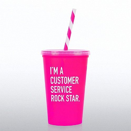 Value Tumbler with Candy Straw: Customer Service Rock Star