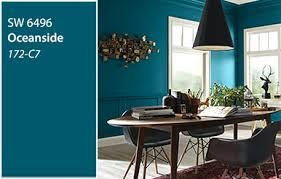 #SherwinWilliams #Paint color of year #2018 #Oceanside is painted on walls of #informal #dining #room #HomeDecor #Modern #Contemporary #Furnishing #Interior #Designers