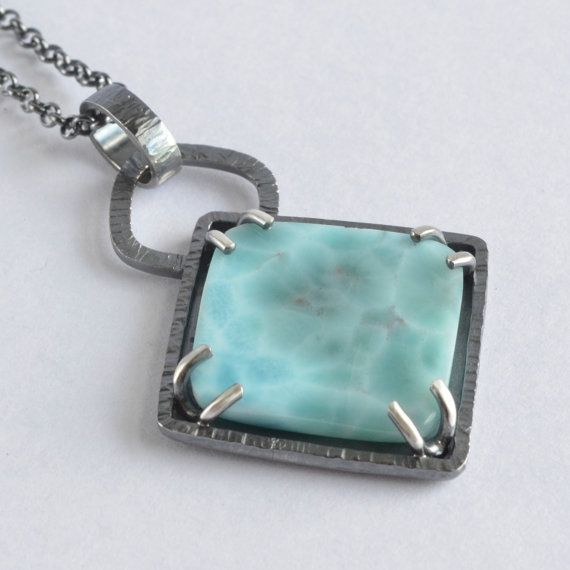 larimar stone sterling silver square pendant by laurenmeredith