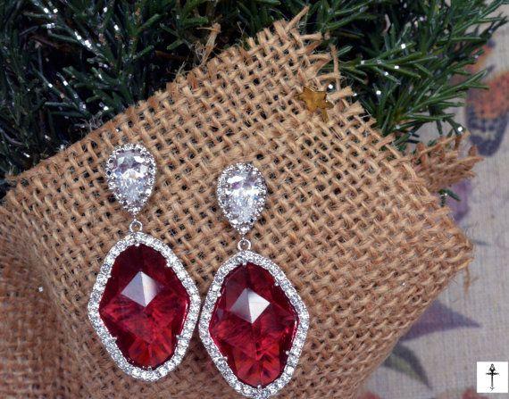 Victorian Chandelier Ruby Glass Pendant  Earrings Cubic by BYTWINS