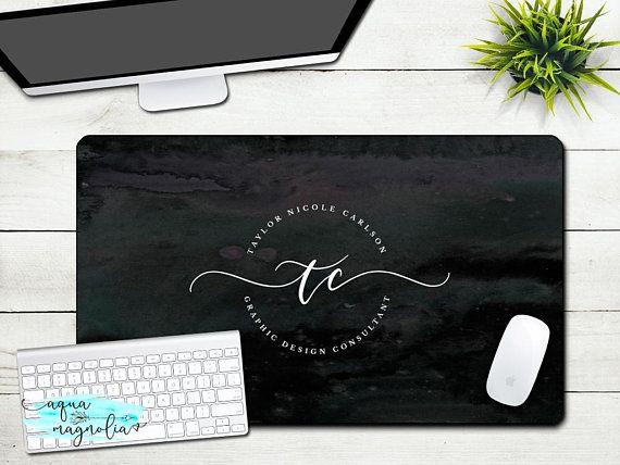 Custom Business Logo Desk Pad Large Desk Mat Monogrammed Desk Pad X Large Desk Mat Office Accessory Desk Accessory Black Whit Desk Mat Monogram Desk Desk Pad
