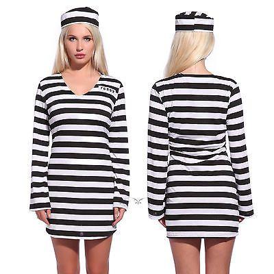Womens Convict Costume Jail Prisoner Costumes Hen Night Party Fancy Dress AU