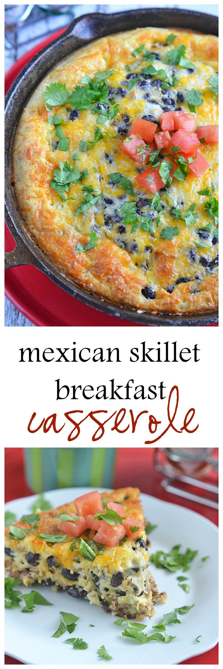 This Mexican Skillet Breakfast Casserole is sure to satisfy hungry family and friends. Filled with sausage, cheese and veggies, this hearty breakfast can be prepared the night before, making busy mornings stress-free!