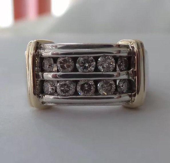 Make OFFER Men's Gold 1 00 tcw Diamond Ring Size 8 13 grams Heavy | eBay