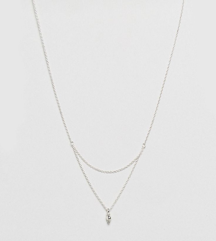 ASOS Sterling Silver Mini Ball Pendant Multirow Necklace - Silver