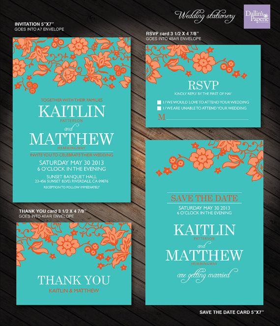 Turquoise and Orange, Flower Wedding Printables, Customized Wedding Invitation, RSVP, Thank you card, Save the date, cottage chic wedding