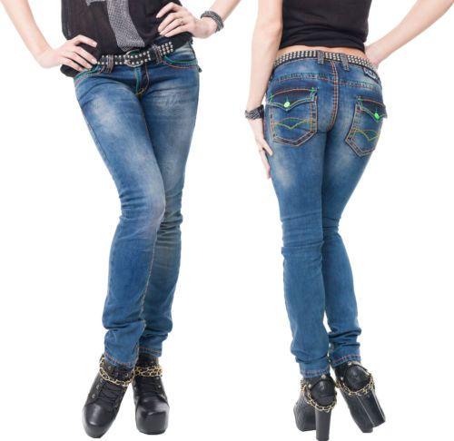 Rock-Creek-Damen-Jeans-Hose-dicke-Orange-Naehte-Naht-Blau-Denim-Used-Look-Vintage