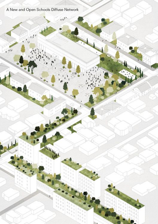 Tirana 2030: Watch How Nature and Urbanism Will Co-Exist in the Albanian Capital,New public schools will act as focal points for city neighborhoods. Image Courtesy of Attu Studio