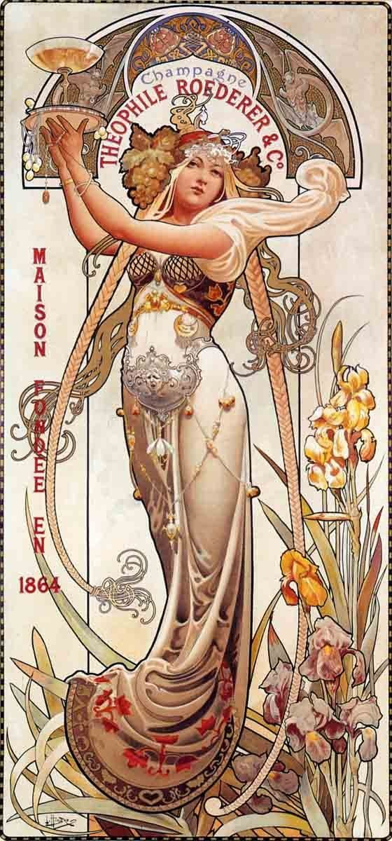 Amazon.com: Theophile Roederer Champagne Louis-Theophile Hingre Mucha Style 18x36 Poster Reprint: Everything Else