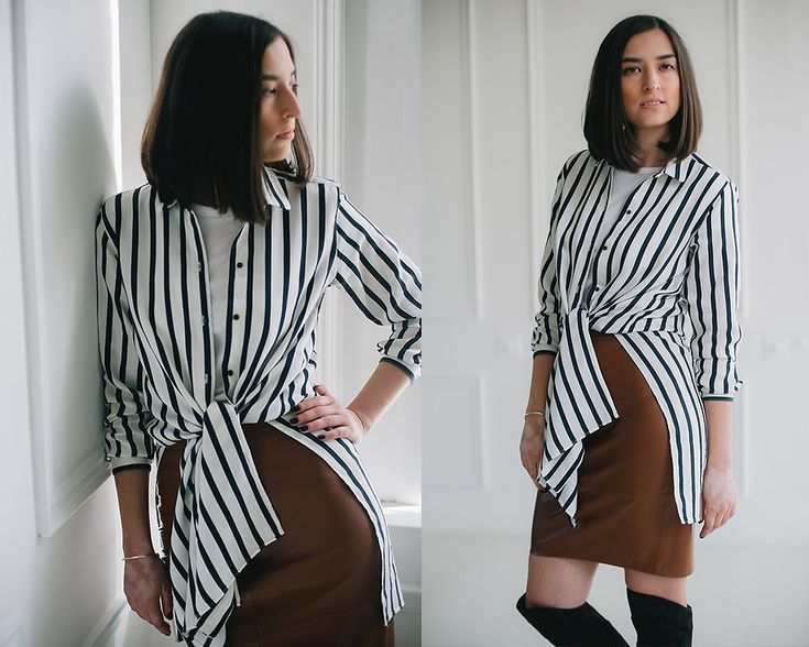 brown leather pencil skirt, white stripe long shirt, look, outfit, street style, russia