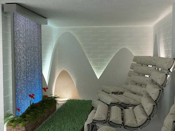 Refreshing Water Wall Design For Outdoor Swimming Pool : Impressive Blue  Water Wall Fountain For White Themed Interior Home Design At Full L.
