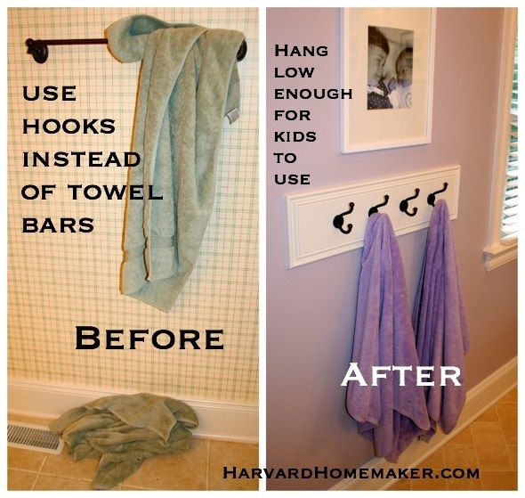 Use hooks hung low enough so your child can reach to hang up towels. Let them be responsible for helping to keep things neat! * More than 100 organizational tips in this post. #mom tips #harvardhomemaker