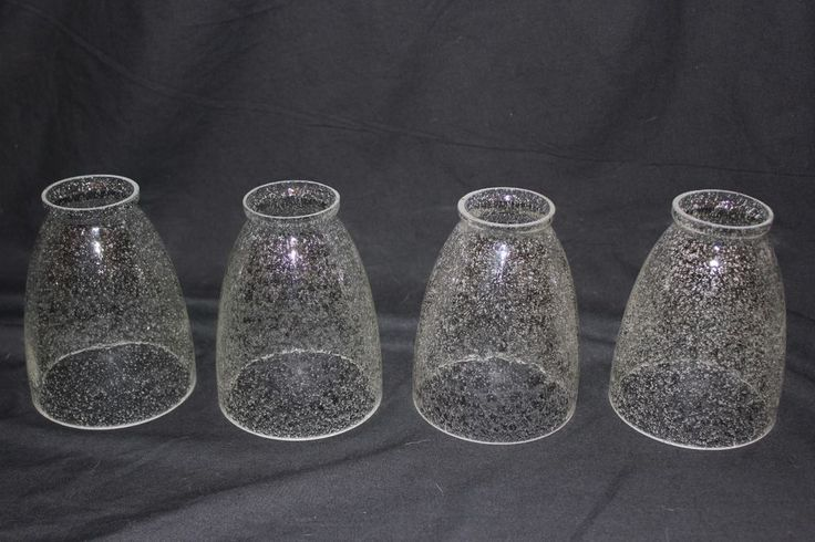 Set Of 4 Seeded Seedy Seed Bubble Glass Replacement Shades Globes Pretty VG