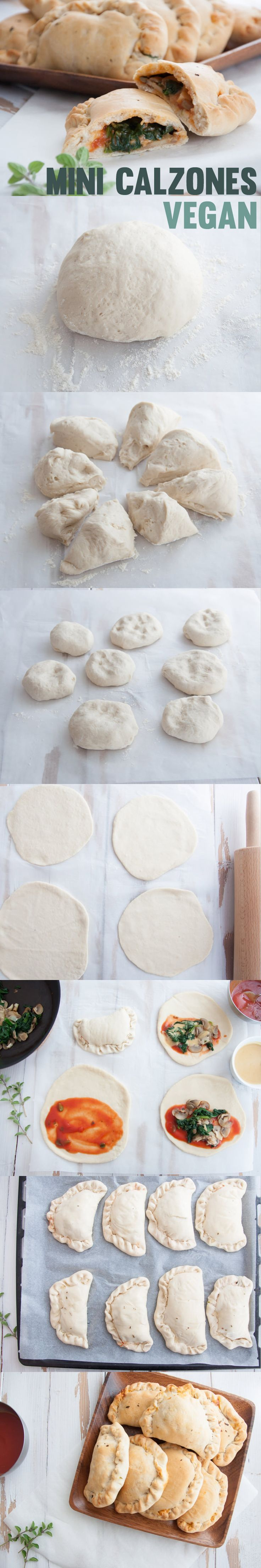 "Vegan Mini Calzones #vegan | ElephantasticVegan.com  (After pinning, I see recipe does not appear to be vegan, but ""vegetarian.""  Replace cheese to veganize."