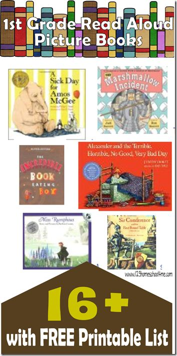 16 Favorite 1st Grade Picture Books - These are great as they include beautiful illustrations kids still enjoy at this age, but with more complex stories and rich vocabulary kids need in first grade. This even includes a free printable list to take to the library perfect for parents and homeschool families.