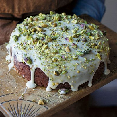 Pistachio and elderflower cordial cake recipe. For the full recipe, click the picture or visit RedOnline.co.uk