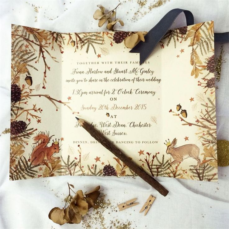 Add some wintry magic to your woodland wedding invitations with this set from Paper House – we love the pinecone detailing and the animals. Your guests will want to display this in their home forever.
