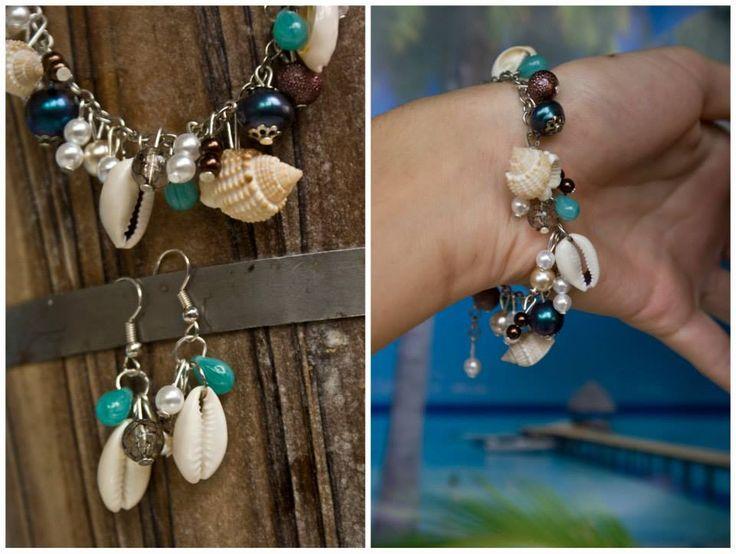 handmade by Hana   ◦ the sea inside my mind ◦náramok/braccialetto/bracelet + náušničky/orecchini/earrings https://www.facebook.com/hmbyha?fref=ts