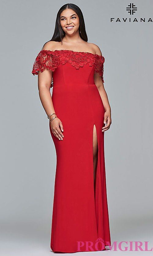 97b360ecf23 Plus-Size Off-the-Shoulder Prom Dress by Faviana