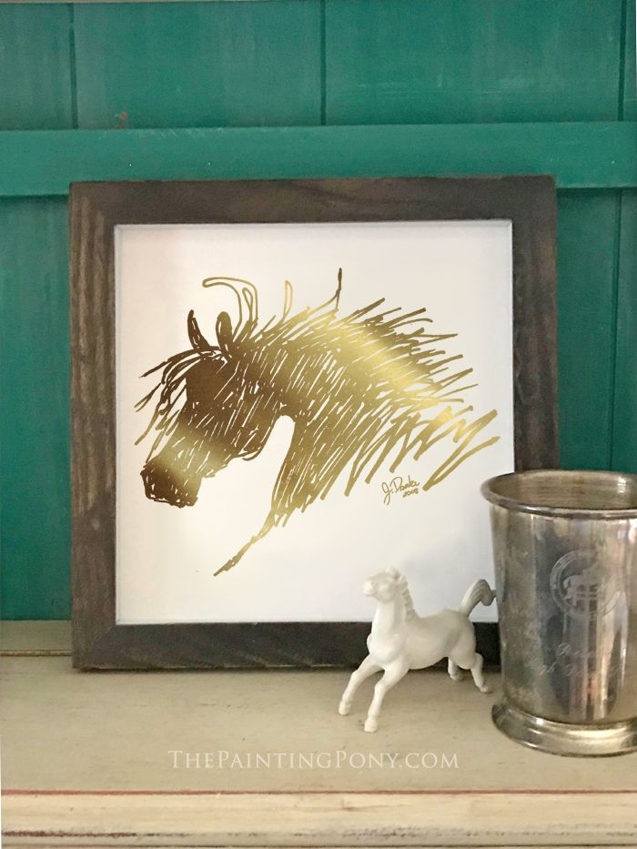 Metallic Gold Foil Abstract Horse Head Art Print - equestrian home decor wall artwork for the office or tack room in the barn.