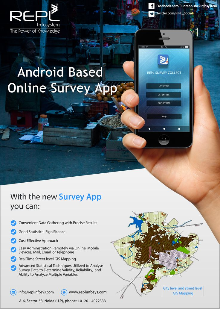 Android Based Online Survey App, Convenient data gathering with precise result & good statistical significance. http://www.replinfosys.com/gis-mapping.aspx