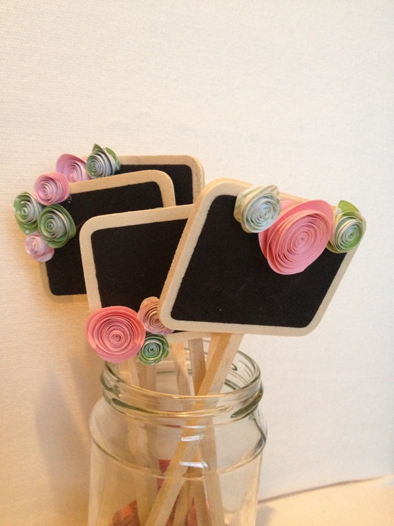 Miniature chalkboard signs, pink & green wedding table numbers, escort cards, dessert/food markers, etc.