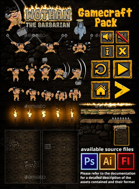 Wothan The Barbarian Game Assets - Download: http://graphicriver.net/item/wothan-the-barbarian-game-assets/16025103?ref=sinzo #Game #Kits #GameAssets