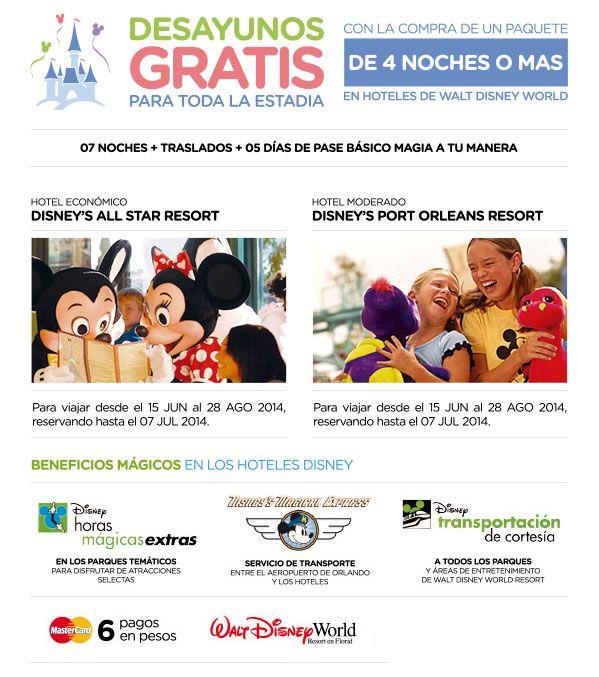 #Disney World Florida con beneficios mágicos! Con la compra de tu paquetes de mas de 4 noches DESAYUNO GRATIS!