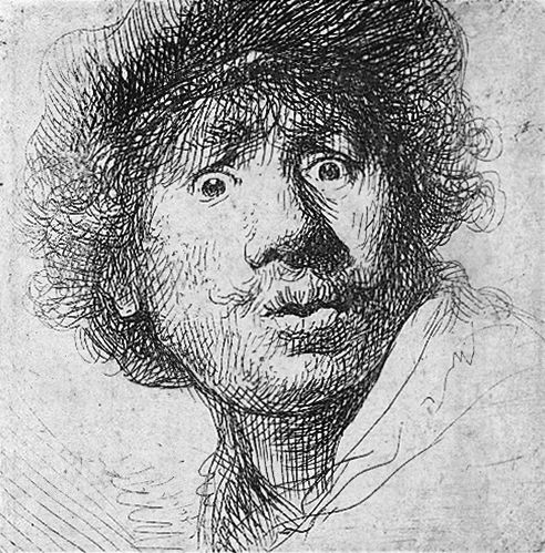 Self-portrait in a cap, with eyes wide open, etching and burin, 1630