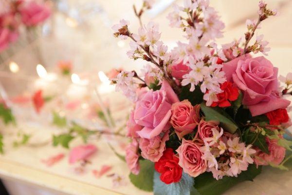 新潟市結婚式場 ブレストン 桜 フラワーアレンジメント