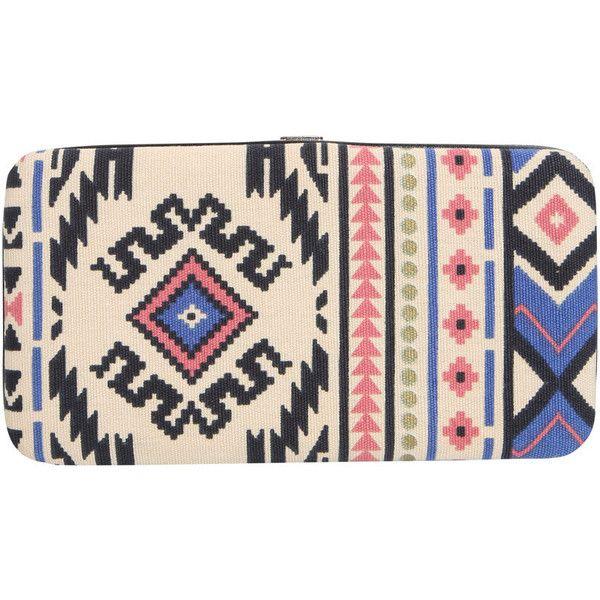 Boohoo Kim Blue Aztec Purse (340 UYU) ❤ liked on Polyvore featuring bags, handbags, hand bags, man bag, aztec print bag, blue handbags and pink bag