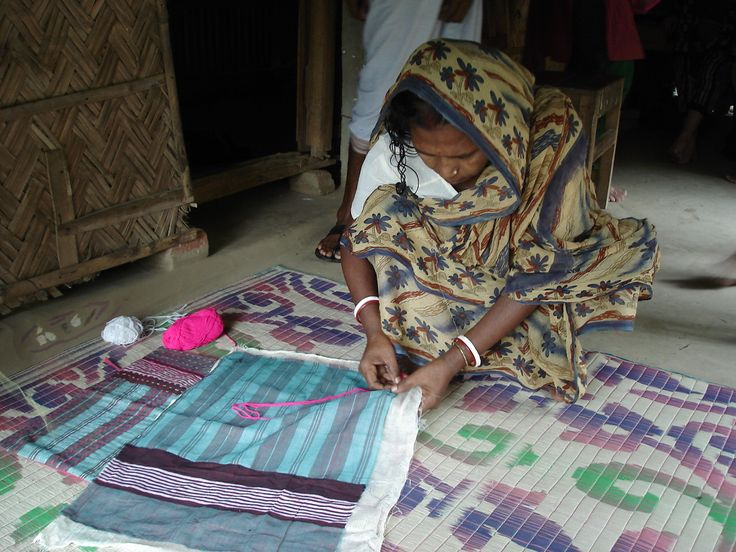 Hand- stitching my quilts, Fulia, West Bengal. Sally Campbell Textiles
