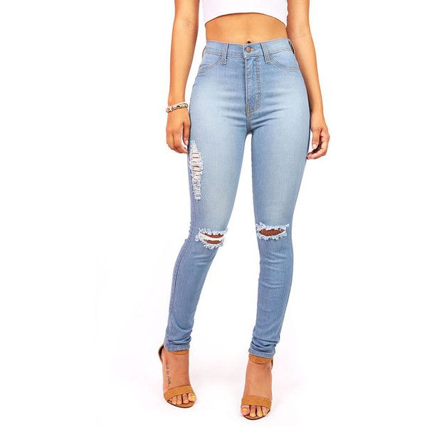 Light-wash faded high waist skinny jeans with small tearing around the knees. Faux front pockets with pockets in the back. Zipper and button fly.