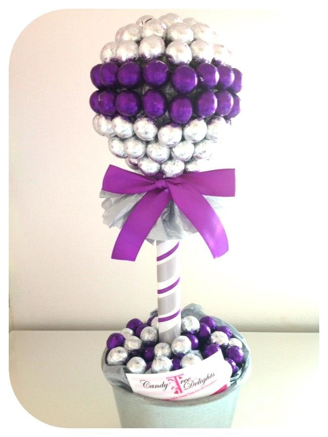 Elegant purple and silver sweet tree...perfect for wedding table centre-pieces.