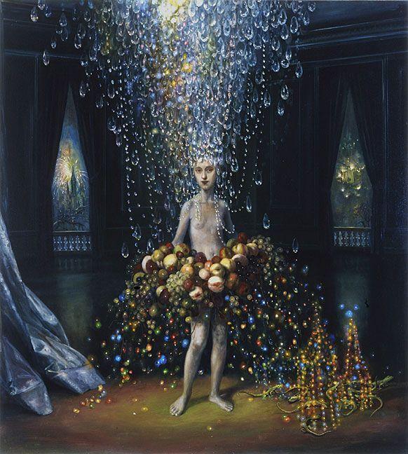 """Self Portrait as Gorgeous Tumor"" - Julie Heffernan - 2004 - oil on canvas, 68 x 57 inches"