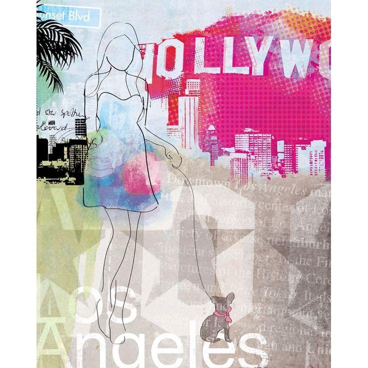 Wheatpaste Los Angeles City Girl Canvas Wall Art