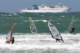 Windsurfers and the ferry