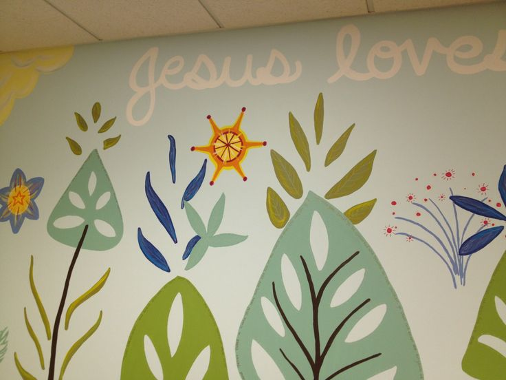 Detail from a church nursery mural by liz richter church for Church nursery mural