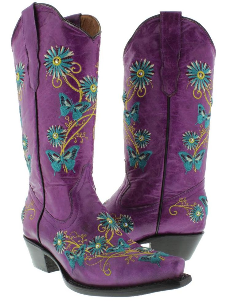 sparkly cowboy boots for women | Womens Cowboy Boots Ladies Leather Embroider Butterfly Flower ...