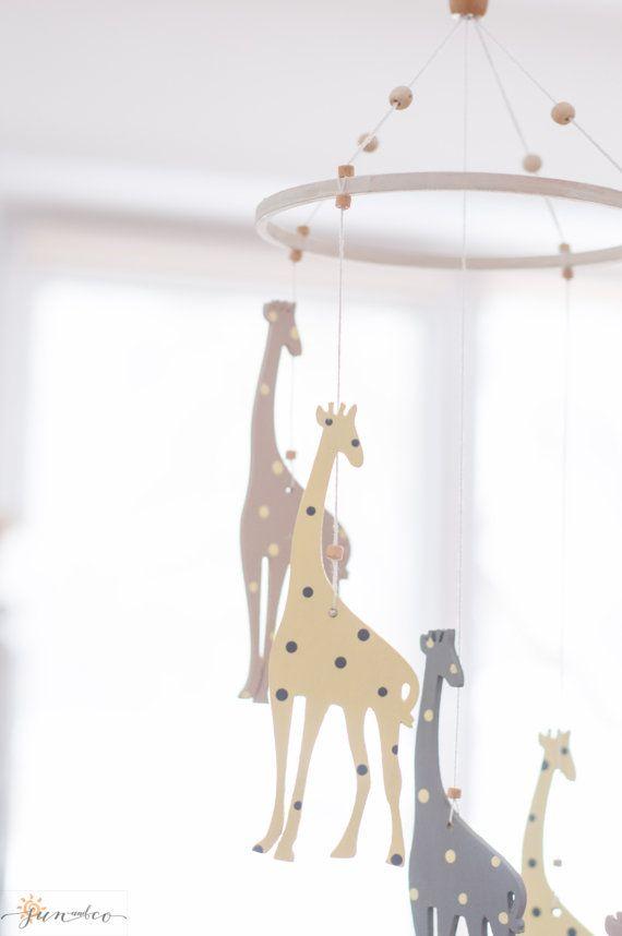 Детский эко мобиль- Жирафы- минимализм-пастельные цвета
