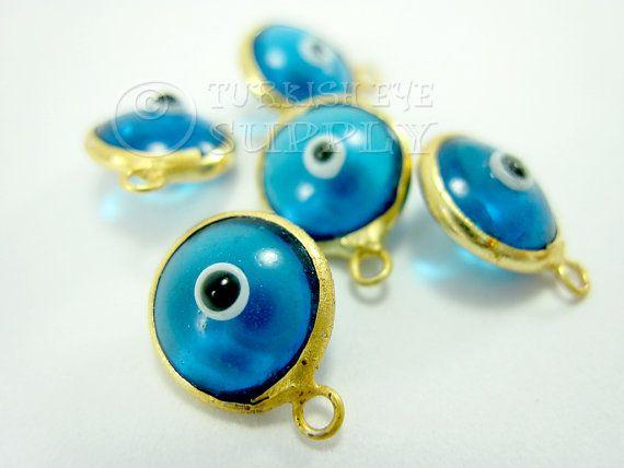 10 pc Glass Evil Eye Charms Translucent Blue by turkisheyesupply